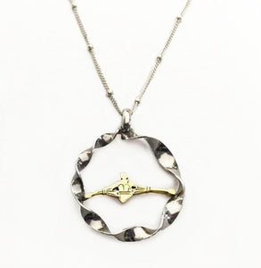 14k Gold Single Sculler in a Sterling Silver Rough Water Circle Pendant, by Rubini Jewelers