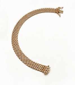 14Kt Rose Gold Wide Brick Mesh Bracelet at Rubini Jewelers