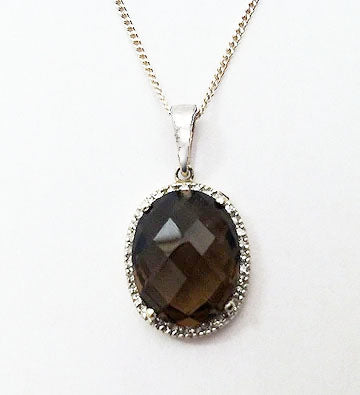 Oval Smokey Quartz in Diamond Halo 14kt White Gold Pendant at Rubini Jewelers