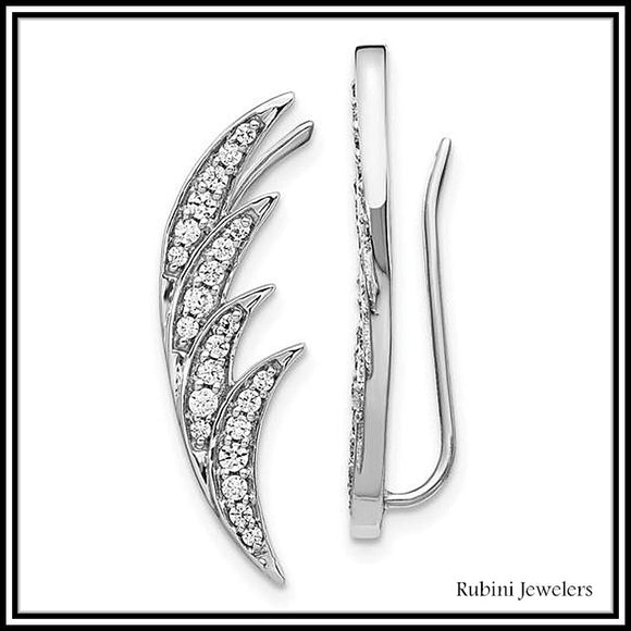 14Kt White Gold Wing Feather Diamond Ear Climbers / Earrings from Rubini Jewelers