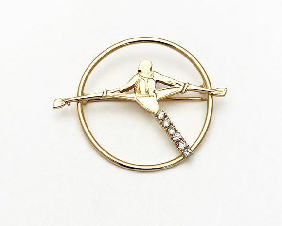 14Kt Gold Rowing Single Scull in open Circle Brooch with CZs by Rubini Jewelers