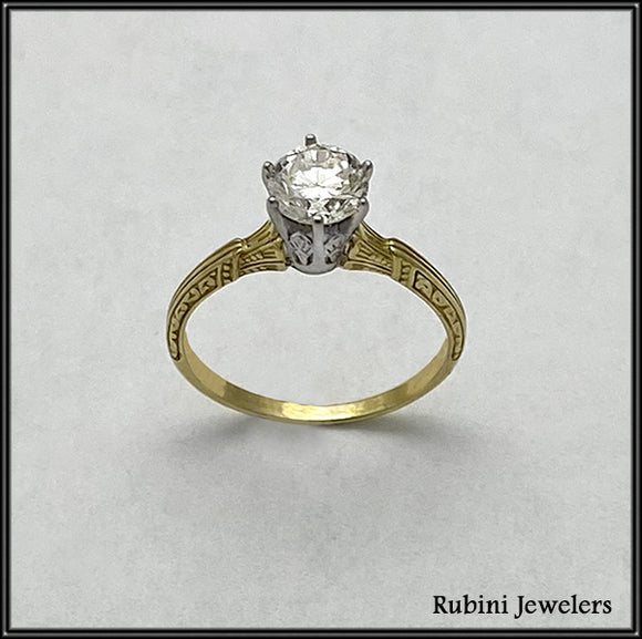 18Kt Yellow Gold and Platinum Antique Solitaire Engagement Ring at Rubini Jewelers
