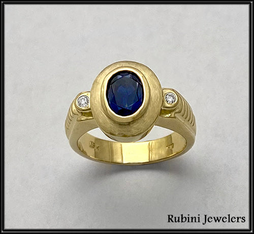 Yellow Gold with large oval Sapphire and Diamonds at Rubini Jewelers