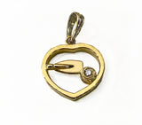 18Kt Gold Heart and Diamond with 14Kt Gold Rowing Tulip Blade Pendant by Rubini Jewelers