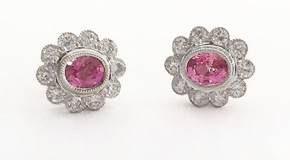 18k White Gold Halo Pink Sapphire Post Earrings with Diamonds at Rubini Jewelers