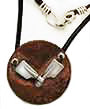 Necklace: 2 sterling blades on copper with leather, by Rubini Jewelers