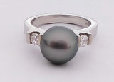 Tahitian Pearl and Two Diamonds in White Gold Ring
