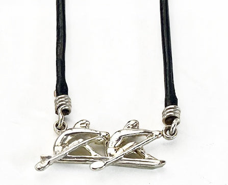 3D Double Sculls Rowing Boat with Leather Cord Necklace by Rubini Jewelers