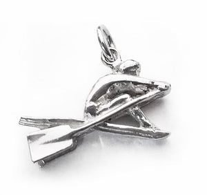 3D Single Rower with Hatchet Oars Rowing Pendant/Charm by Rubini Jewelers