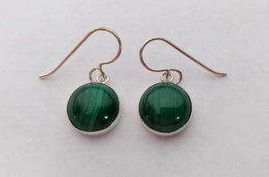 Sterling Silver Round Malachite on French Wire Earrings