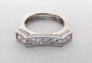 White Gold Square Shaped Diamond Band, by Rubini Jewelers