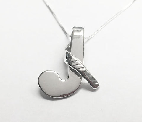 Looped Over Field Hockey Stick Pendant Sterling Silver