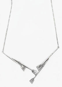 4 Oars with Attached Figaro Chain Necklace Sterling Silver by Rubini Jewelers