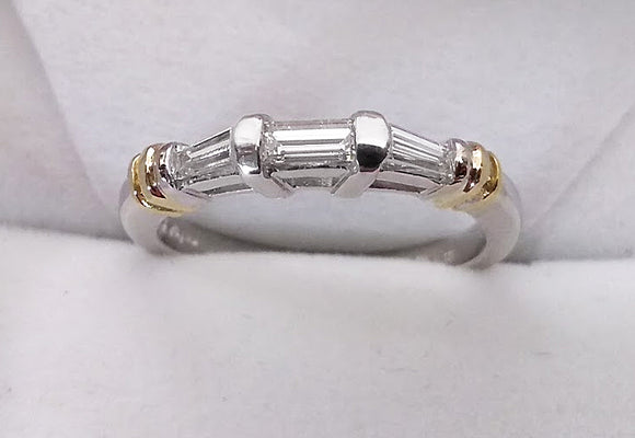 Two Tone Diamond Baguette Band, by Rubini Jewelers