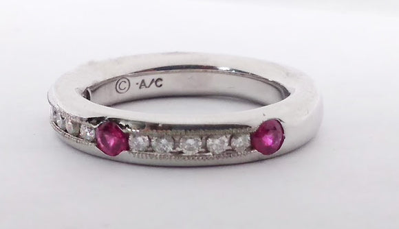 White Gold Diamond & Rubies Band, by Rubini Jewelers