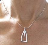 Sterling Silver Tulip Outline Oar Pendant, by Rubini Jewelers