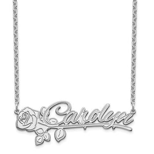 Personalized Name and Rose Necklace- Sterling Silver