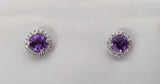 White Gold Round Checkerboard Amethyst & Diamond Halo Earrings, by Rubini Jewelers