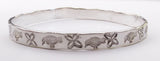 Silver Plated Flower & Bird Design Bangle Bracelet at Rubini Jewelers