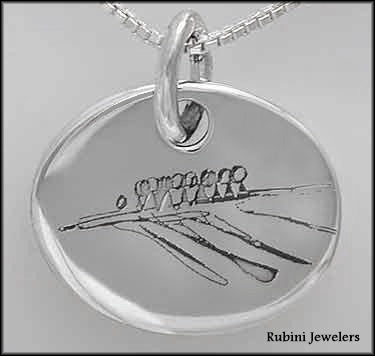 Abstract Eight Boat (8+) Design #2 Laser Engraved on Sterling Silver Oval Pendant, by Rubini Jewelers