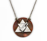 Silver Aether Symbol and Rowing Blade on Copper Disc Necklace by Rubini Jewelers