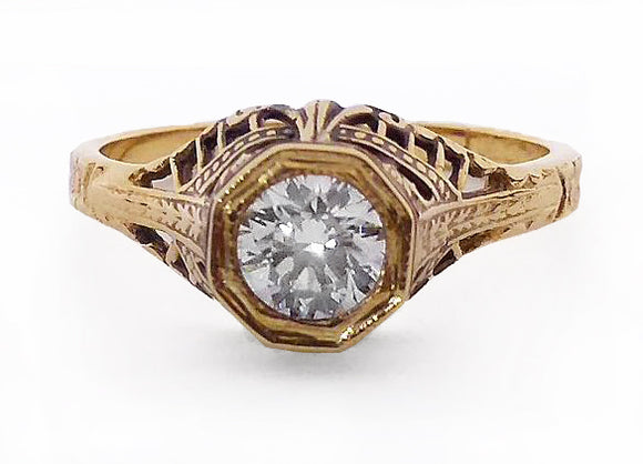 Antique Reproduction Gold Diamond Ring, by Rubini Jewelers