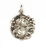 Art Nouveau Woman Silver Pendant by Rubini Jewelers