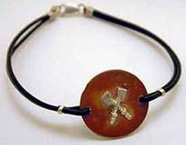 Copper Disc Silver Crossed Oar Leather Rowing Bracelet by Rubini Jewelers