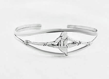Front View Rowing Single Sculler in Split Cuff Bracelet by Rubini Jewelers