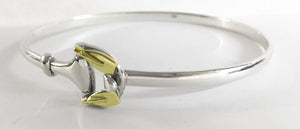 Sterling Silver Hook & Eye Bracelet w/ Double 14k Gold Tulip Blades