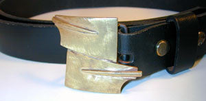 Belt Buckle: 2 Overlapping Brass Blades, by Rubini Jewelers
