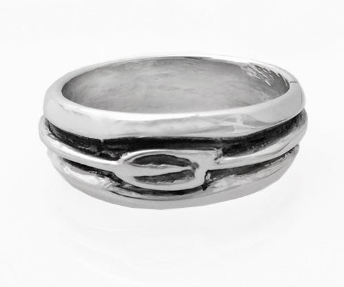 Band with Carved Tulip Oar Ring by Rubini Jewelers