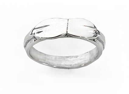Band with Two Rowing Tulip Blades Head to Head Ring Sterling Silver by Rubini Jewelers