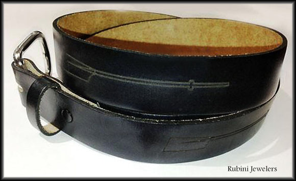 Black Top Grain Leather Belt with Snap On Buckle- Engraved with Oars by Rubini Jewelers