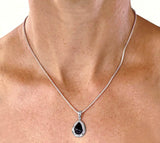 Black Onyx Tear Drop in Sterling Silver Bezel- Pendant at Rubini Jewelers