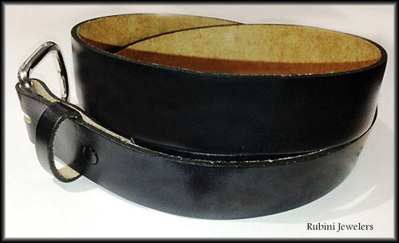 Black Top Grain Leather Belt with Snap On Buckle from Rubini Jewelers