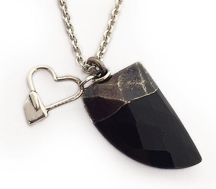 Black Stone and Silver Rowing Heart Necklace by Rubini Jewelers