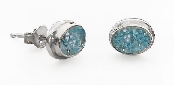 Blue Topaz Sterling Silver Posts Earrings, by Rubini Jewelers