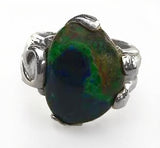 Blue & Green Azurite Cabochon in Sterling Silver Ring by Rubini Jewelers