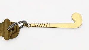 Brass Field Hockey Stick Key Ring by Rubini Jewelers