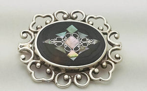 Vintage Mexican Sterling Silver Abalone Filigree Brooch at Rubini Jewelers