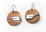 Brushed Copper Disk Dangle Earrings with Sterling Silver Rowing Hatchet Oars by Rubini Jewelers