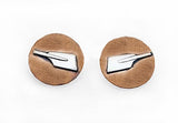 Brushed Copper Disk with Sterling Silver Rowing Blade Post Earrings by Rubini Jewelers