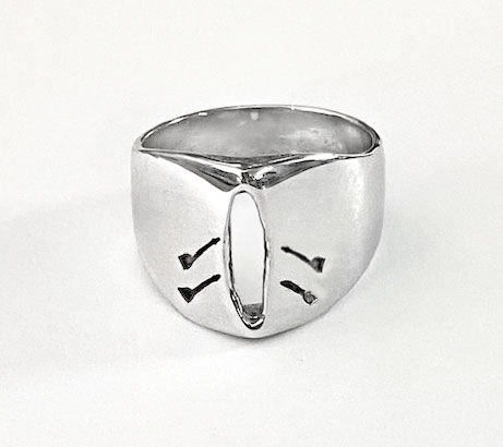 Carved Out Double Rowing Boat Peak Shaped Ring in Sterling Silver, by Rubini Jewelers