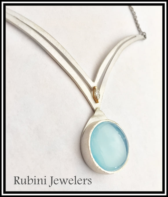 Silver Gold Chalcedony and Diamond Double V Necklace, on of a kind jewelry by Rubini Jewelers