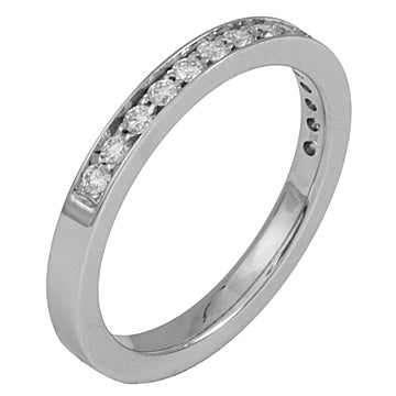 18Kt White Gold Bead Prong Set Diamond Narrow Band at Rubini Jewelers