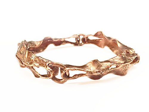 Copper Seaweed Handmade Bangle Bracelet by Rubini Jewelers