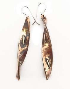 Copper Silver Twist Handmade Earrings by Rubini Jewelers