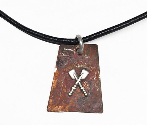 Copper with Silver Petite Crossed Oars Pendant by Rubini Jewelers