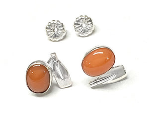 Coral with Rowing Blade Post Earrings by Rubini Jewelers